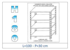 IN-1846910030B Scaffale a 4 ripiani lisci fissaggio a bullone dim cm   100x30x180h