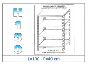 IN-1846910040B Shelf with 4 smooth shelves bolt fixing dim cm 100x40x180h