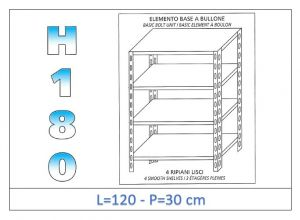 IN-1846912030B Shelf with 4 smooth shelves bolt fixing dim cm 120x30x180h