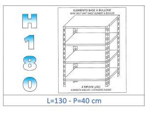 IN-1846913040B Scaffale a 4 ripiani lisci fissaggio a bullone dim cm 130x40x180h