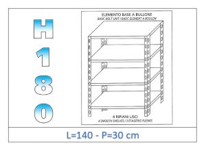IN-1846914030B Shelf with 4 smooth shelves bolt fixing dim cm 140 x30x180h