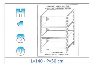 IN-1846914050B Shelf with 4 smooth shelves bolt fixing dim cm 140x50x180h
