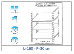 IN-1846916030B Shelf with 4 smooth shelves bolt fixing dim cm 160x30x180h