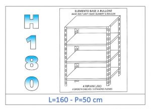 IN-1846916050B Scaffale a 4 ripiani lisci fissaggio a bullone dim cm 160x50x180h