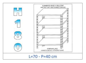 IN-184697040B Shelf with 4 smooth shelves bolt fixing dim cm 70x40x180h