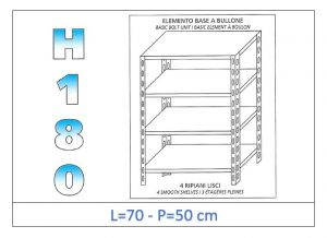 IN-184697050B Shelf with 4 smooth shelves bolt fixing dim cm 70x50x180h