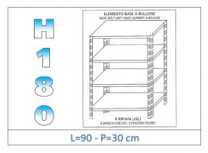 IN-184699030B Shelf with 4 smooth shelves bolt fixing dim cm 90x30x180h