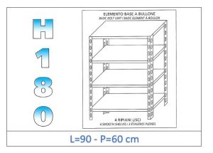IN-184699060B Shelf with 4 smooth shelves bolt fixing dim cm 90x60x180h