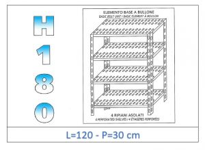 IN-1847012030B Shelf with 4 slotted shelves bolt fixing dim cm 120x30x180h