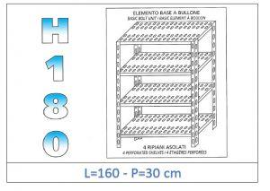 IN-1847016030B Scaffale a 4 ripiani asolati fissaggio a bullone dim cm 160x30x180h