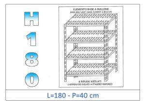 IN-1847018040B Scaffale a 4 ripiani asolati fissaggio a bullone dim cm 180x40x180h