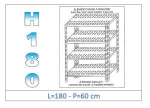 IN-1847018060B Scaffale a 4 ripiani asolati fissaggio a bullone dim cm  180x60x180h