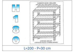 IN-1847020030B Scaffale a 4 ripiani asolati fissaggio a bullone dim cm 200x30x180h