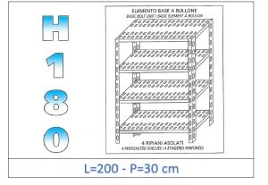IN-1847020030B Shelf with 4 slotted shelves bolt fixing dim cm 200x30x180h