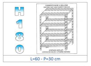 IN-184706030B Scaffale a 4 ripiani asolati fissaggio a bullone dim cm 60x30x180h