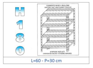 IN-184706030B Shelf with 4 slotted shelves bolt fixing dim cm 60x30x180h