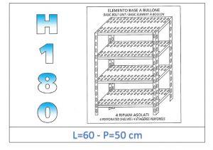 IN-184706050B Scaffale a 4 ripiani asolati fissaggio a bullone dim cm 60x50x180h