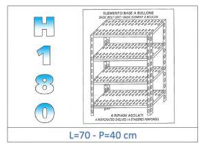 IN-184707040B Scaffale a 4 ripiani asolati fissaggio a bullone dim cm 70x40x180h