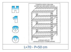 IN-184707050B Scaffale a 4 ripiani asolati fissaggio a bullone dim cm 70x50x180h