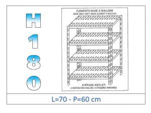 IN-184707060B Scaffale a 4 ripiani asolati fissaggio a bullone dim cm 70x60x180h