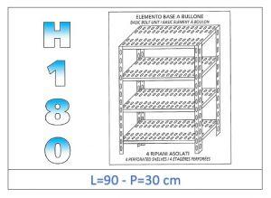 IN-184709030B Scaffale a 4 ripiani asolati fissaggio a bullone dim cm 90x30x180h