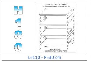 IN-18G46911030B Shelf with 4 smooth shelves hook fixing dim cm 110x30x180h