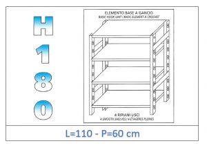 IN-18G46911060B Scaffale a 4 ripiani lisci fissaggio a gancio dim cm 110x60x180h