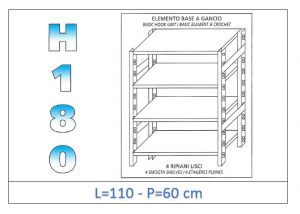 IN-18G46911060B Shelf with 4 smooth shelves hook fixing dim cm 110x60x180h