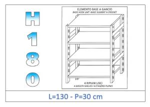 IN-18G46913030B Shelf with 4 smooth shelves hook fixing dim cm 130x30x180h