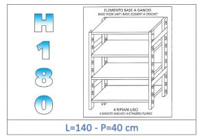 IN-18G46914040B Shelf with 4 smooth shelves hook fixing dim cm 140x40x180h