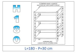 IN-18G46918030B Shelf with 4 smooth shelves hook fixing dim cm 180 x30x180h