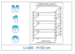 IN-18G46918050B Shelf with 4 smooth shelves hook fixing dim cm 180x50x180h