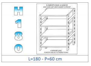 IN-18G46918060B Shelf with 4 smooth shelves hook fixing dim cm 180x60x180h