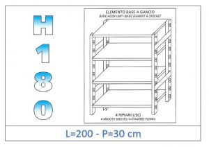 IN-18G46920030B Shelf with 4 smooth shelves hook fixing dim cm 200x30x180h