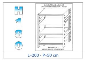 IN-18G46920050B Shelf with 4 smooth shelves hook fixing dim cm 200x50x180h