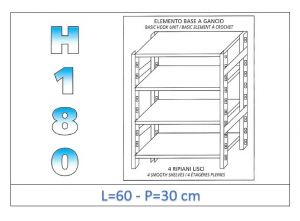 IN-18G4696030B Shelf with 4 smooth shelves hook fixing dim cm 60x30x180h
