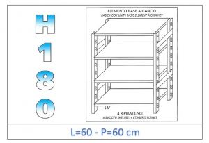 IN-18G4696060B Shelf with 4 smooth shelves hook fixing dim cm 60x60x180h