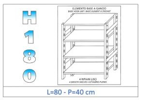 IN-18G4698040B Shelf with 4 smooth shelves hook fixing dim cm 80x40x180h
