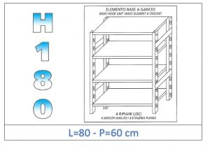 IN-18G4698060B Shelf with 4 smooth shelves hook fixing dim cm 80x60x180h