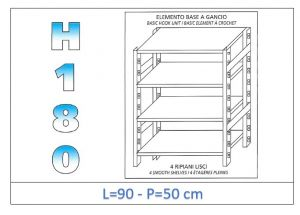 IN-18G4699050B Shelf with 4 smooth shelves hook fixing dim cm 90x50x180h