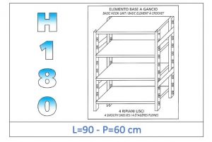 IN-18G4699060B Shelf with 4 smooth shelves hook fixing dim cm 90x60x180h