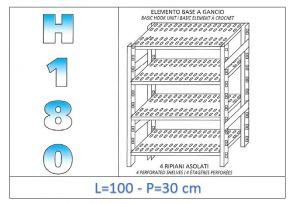 IN-18G47010030B Scaffale a 4 ripiani asolati fissaggio a gancio dim cm 100x30x180h