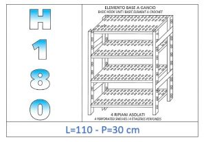 IN-18G47011030B Shelf with 4 slotted shelves hook fixing dim cm 110x30x180h