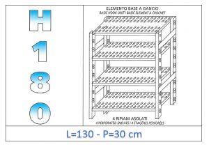 IN-18G47013030B Scaffale a 4 ripiani asolati fissaggio a gancio dim cm 130x30x180h