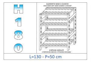 IN-18G47013050B Scaffale a 4 ripiani asolati fissaggio a gancio dim cm 130x50x180h