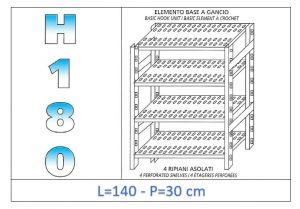 IN-18G47014030B Scaffale a 4 ripiani asolati fissaggio a gancio dim cm 140 x30x180h