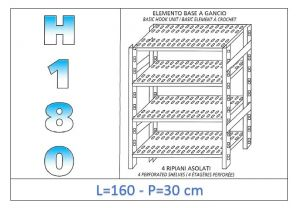 IN-18G47016030B Shelf with 4 slotted shelves hook fixing dim cm 160x30x180h