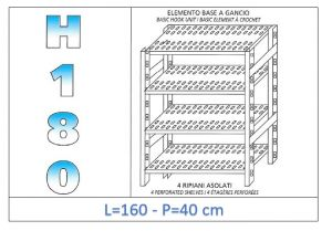 IN-18G47016040B Shelf with 4 slotted shelves hook fixing dim cm 160x40x180h
