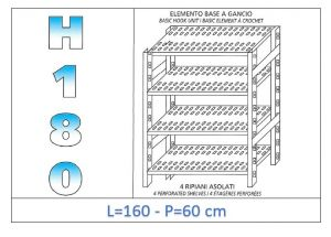 IN-18G47016060B Shelf with 4 slotted shelves hook fixing dim cm 160x60x180h
