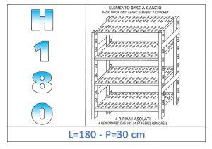 IN-18G47018030B Scaffale a 4 ripiani asolati fissaggio a gancio dim cm 180 x30x180h